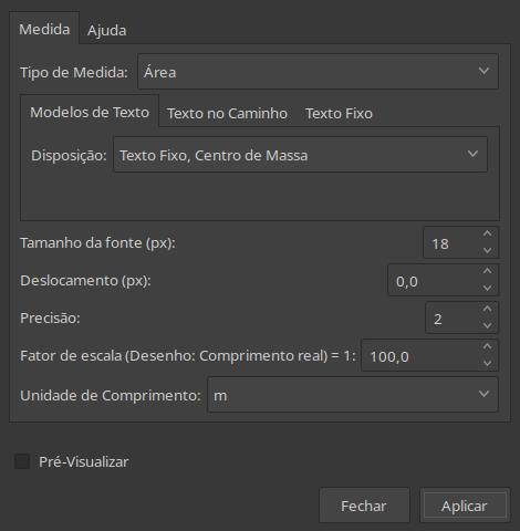 Diálogo de medição de área no Inkscape